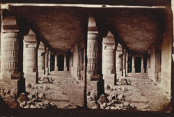 Interior view from the right of the verandah of Buddhist vihara, Cave XXIII, Ajanta